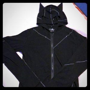 Royal bones bat ear zip up hoodie